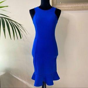 Formal Electric Blue Bodycon Midi Ruffle Dress 8